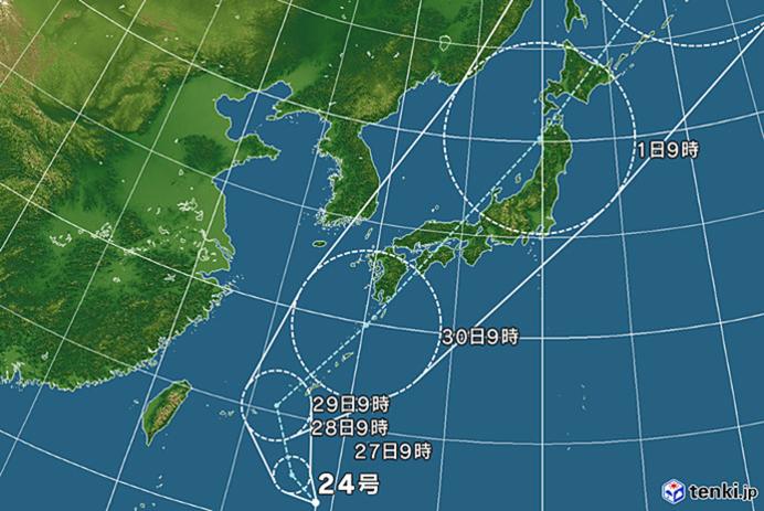 台風24号が西日本へ接近する恐れ