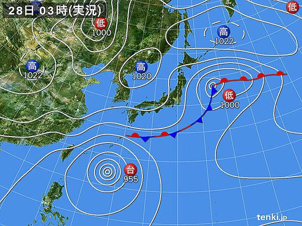 28日 広く晴れるが 沖縄には台風接近