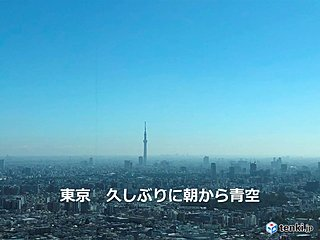 東京都心 快晴 すでに日照5時間以上