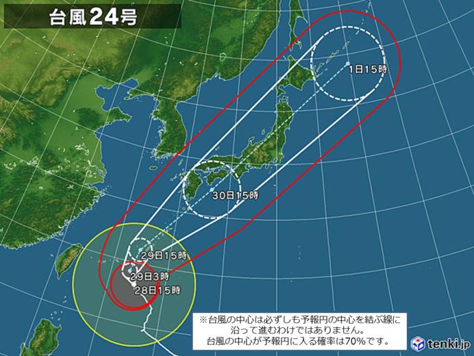 台風24号の進路と特徴