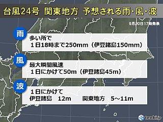 台風この後関東接近 時速180kmの風も