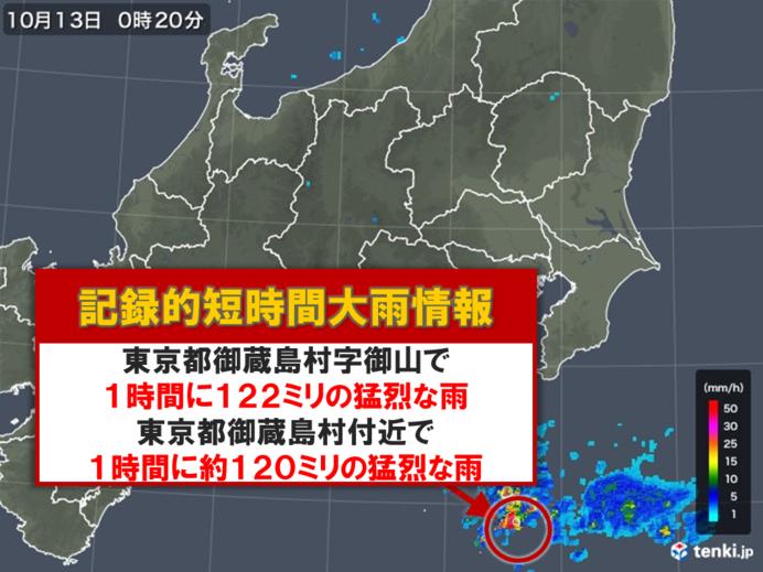 東京都 御蔵島村 記録的短時間大雨