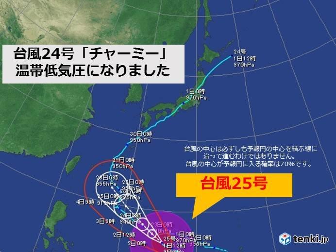 台風24号 温帯低気圧に 後を追う25号