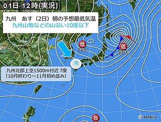 あす朝 この秋一番の冷え込み 九州