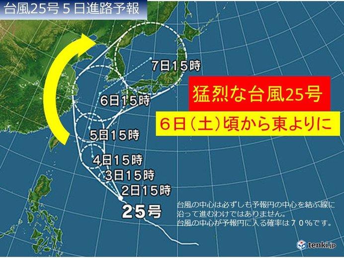 猛烈な台風25号 次第に向きを東よりに