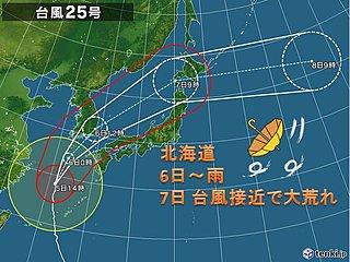 北海道 台風25号で7日は大荒れか