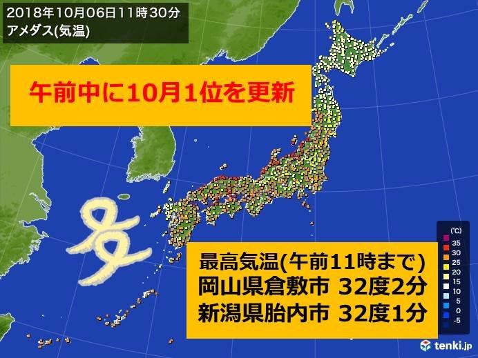 南風で気温上昇 午前中に10月の記録更新