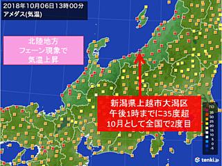 新潟県で猛暑日に 10月として2度目