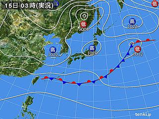 15日 関東と東海は雲が主役 急な雨も
