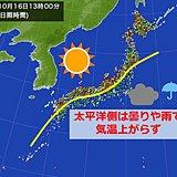 太平洋側ヒンヤリ 平年より6度低い所も