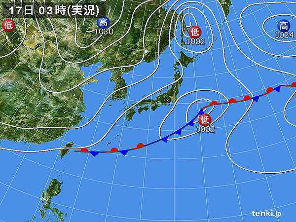 17日 寒気流入 日本海側で局地的に雷雨