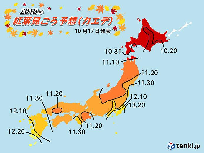 紅葉見ごろ予想(第3回) 日本気象協会