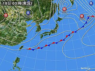 18日 この時期らしい気温 関東は夜は雨