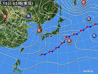 19日 不安定 急な強い雨 落雷 突風も