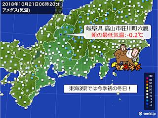 東海今季初冬日 朝晩ヒンヤリ続く