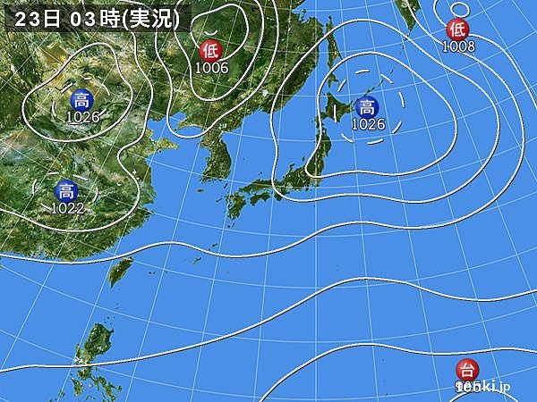 23日 西は強雨や雷 東と北も夜は一時雨