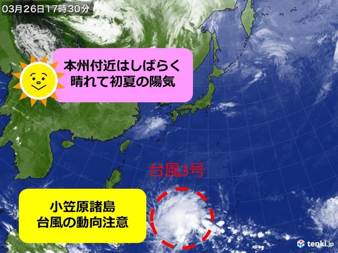 列島3月に珍しい高温も 南に台風3号