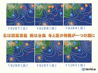 週間天気図 冬と夏の特徴が一つの図に