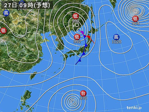 北日本は西高東低に