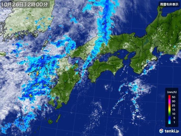 26日夜から27日朝にかけて雨や雷雨に