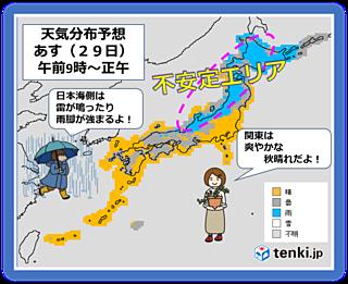 10月最終週 日本海側で不安定!