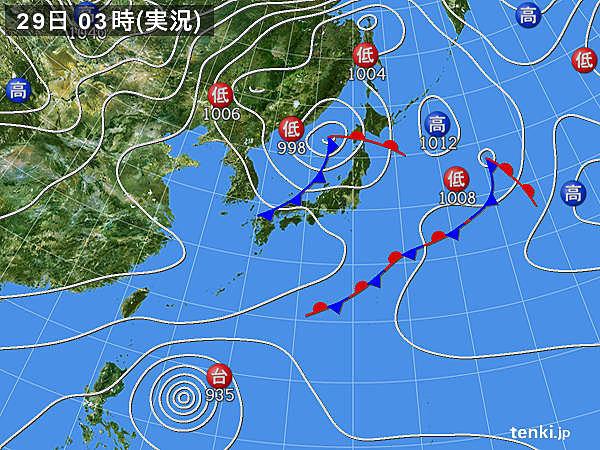 29日 日本海側は荒天 太平洋側は秋晴れ