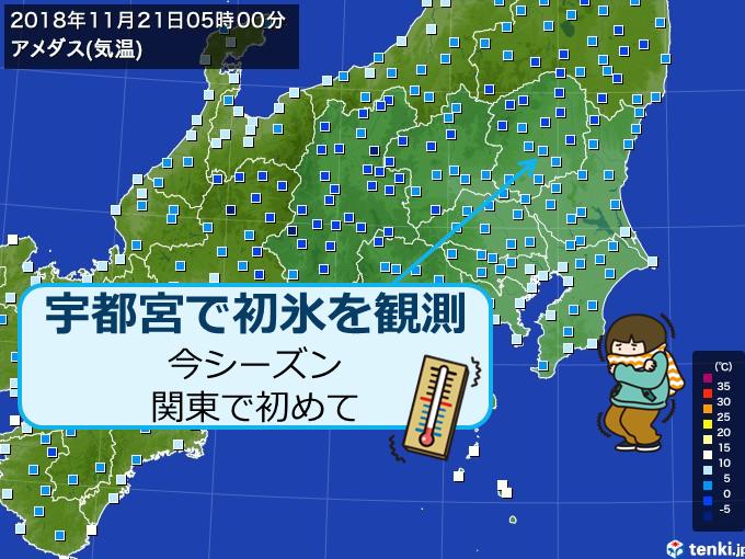 宇都宮で初氷 関東で今シーズン初めて