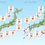 文化の日と日曜日 関東~近畿で雲が広がる