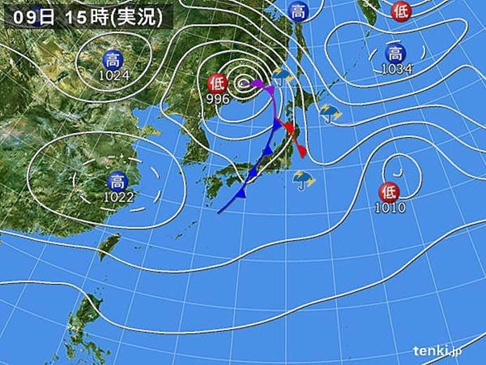 激しい雨や雷雨の範囲 北日本へ