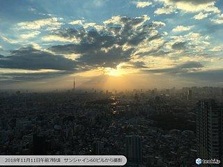 朝陽から広がる光の線「天使のはしご」
