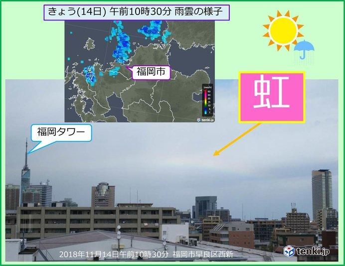 北の空にかかる虹 福岡