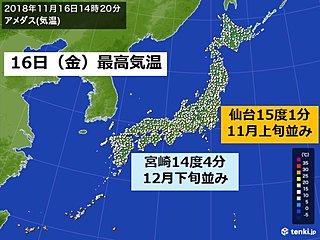 東北より九州の方が気温低く、12月並みも