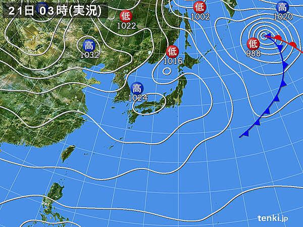 21日 夜は広く傘の出番 北日本は積雪も