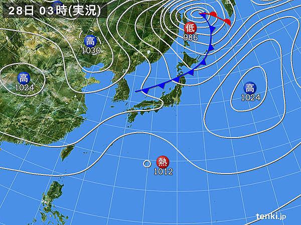 28日 西から次第に雨 気温差注意...