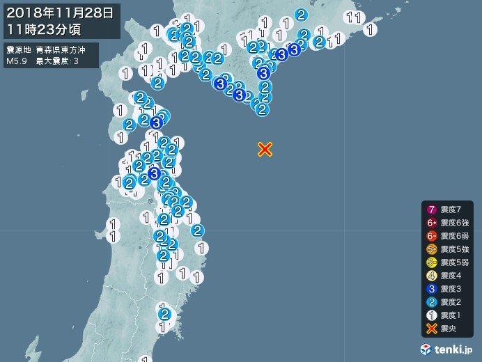 北海道や青森県で震度3 若干の海面変動