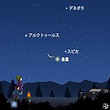 天体ショー 細い月と金星が接近