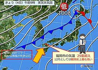 記録的な暑さ 福岡夏日!
