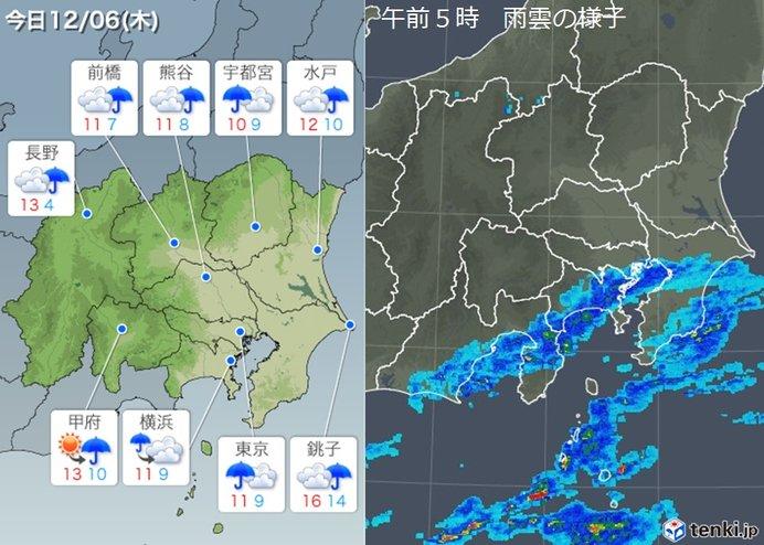 6日の関東 冷たい雨 日中も10度くらい