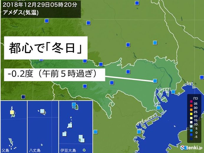 東京で今季初「冬日」 氷点下の冷え込みに