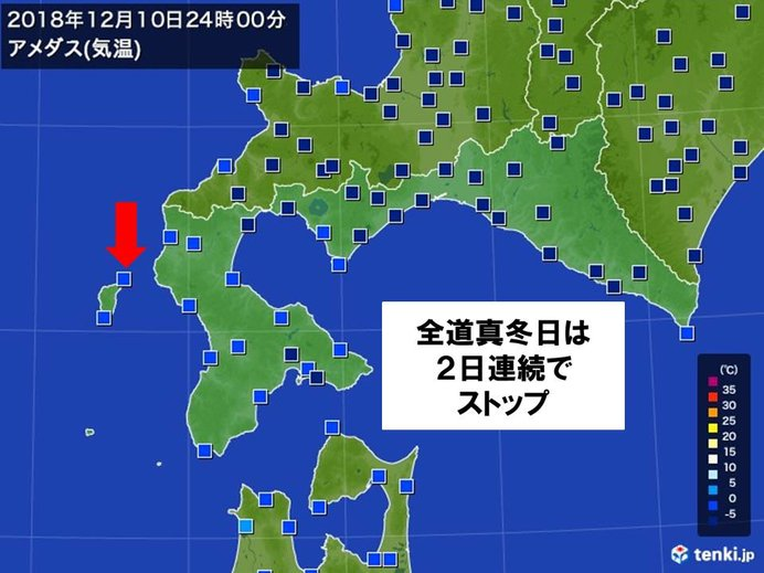北海道 全道連続真冬日は途切れたものの