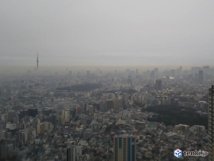 都会の朝 東京 茶褐色の空気の層