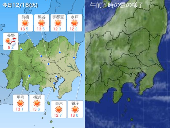 18日 関東 晴れて昼間は日差しあたたか