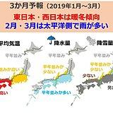 3か月予報 東・西で暖冬 太平洋側雨多い