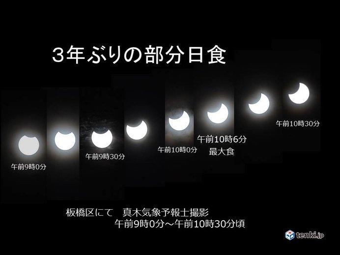 3年ぶりの天体ショー 部分日食の変化
