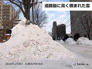 北海道 雪山の陰から子供の飛び出し注意