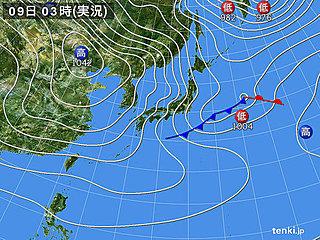 9日 北風強く厳寒に 太平洋側は乾燥続く