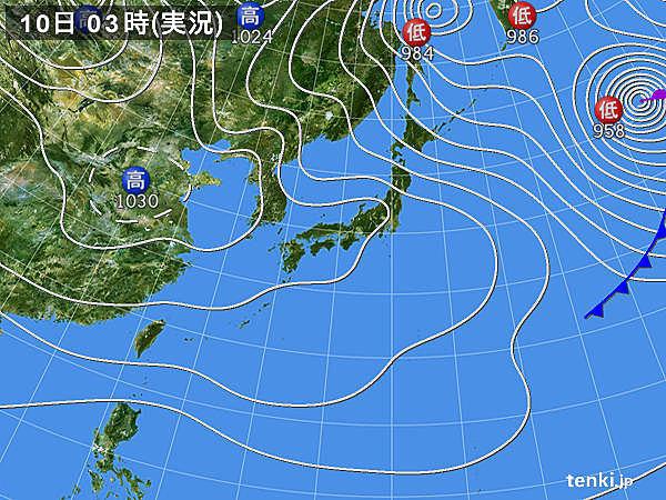 10日 太平洋側にも雲 北海道は吹雪続く
