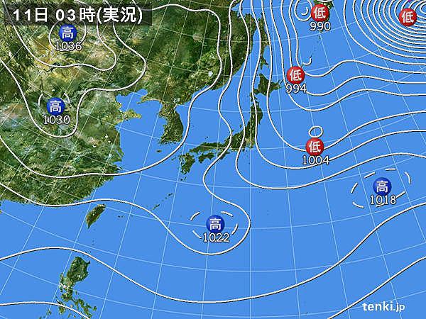 11日 広く晴れるが 西から雨雲ジワリ