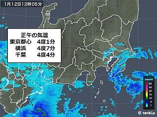関東南部 正午で5度に届かず 雪が舞う