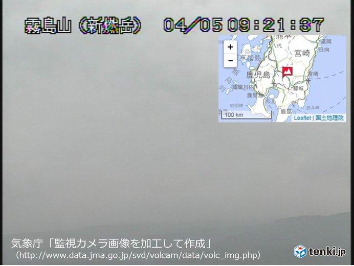 新燃岳 一時的に噴煙5000メートル